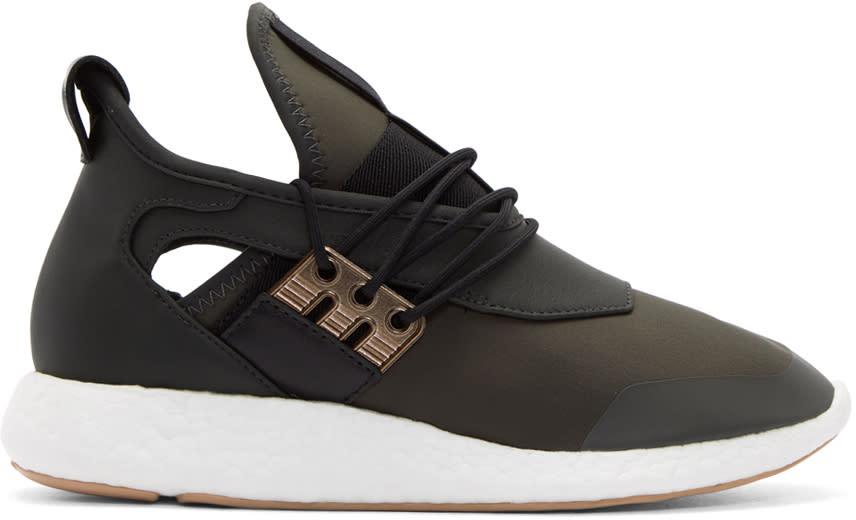 Y-3 Green and Black Elle Run Sneakers