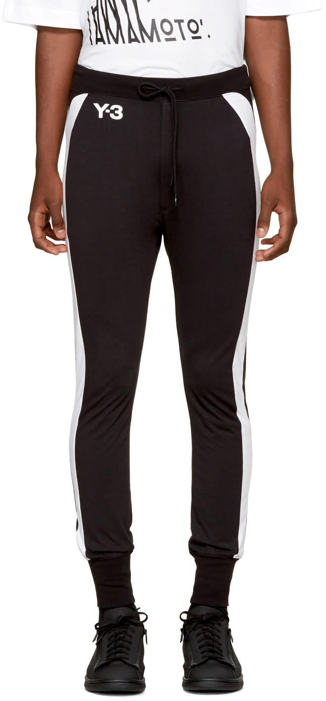 Image of Y-3 Black and White Jersey Long John Lounge Pants