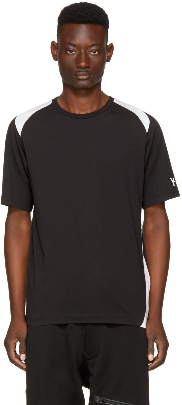 Image of Y-3 Black and White Three-stripes T-shirt