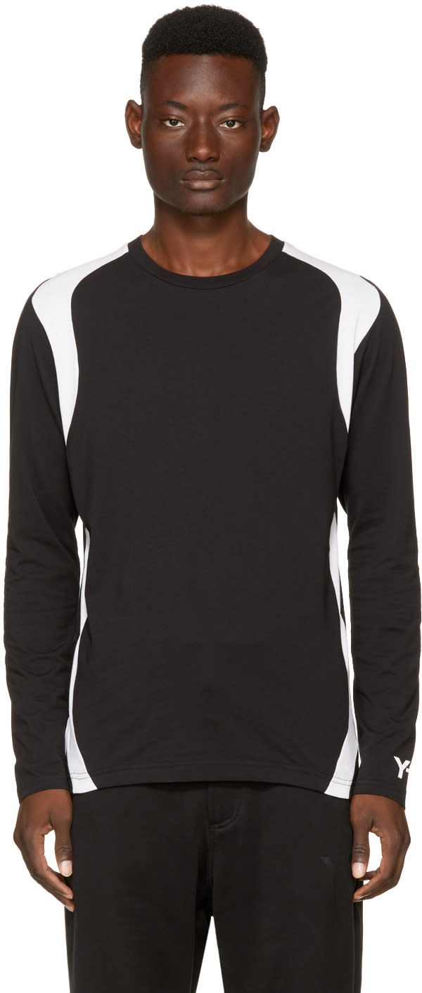 Image of Y-3 Black and White Long Sleeve Three-stripes T-shirt
