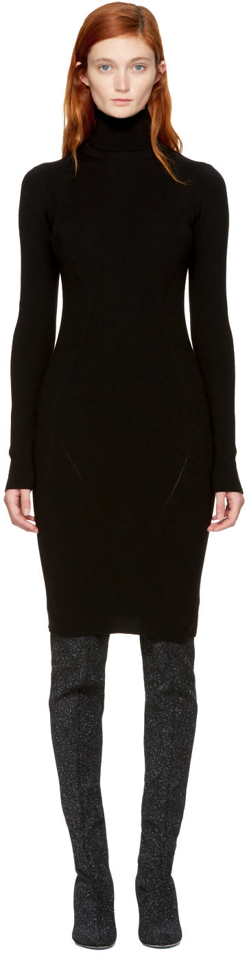 Image of Dsquared2 Black Bodycon Turtleneck Dress