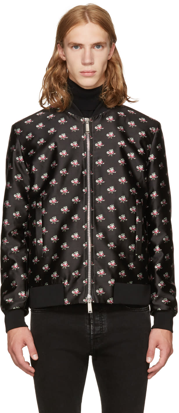 Image of Dsquared2 Black and Pink Floral Bomber Jacket
