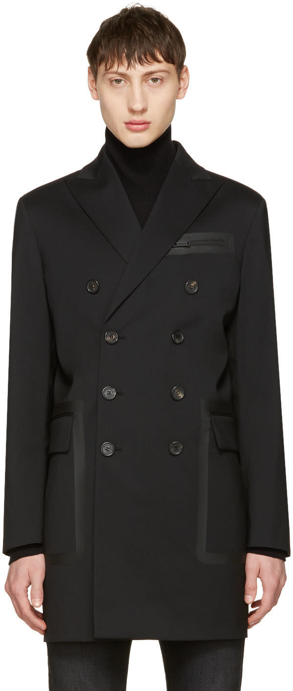 Image of Dsquared2 Black Chic Wool Coat