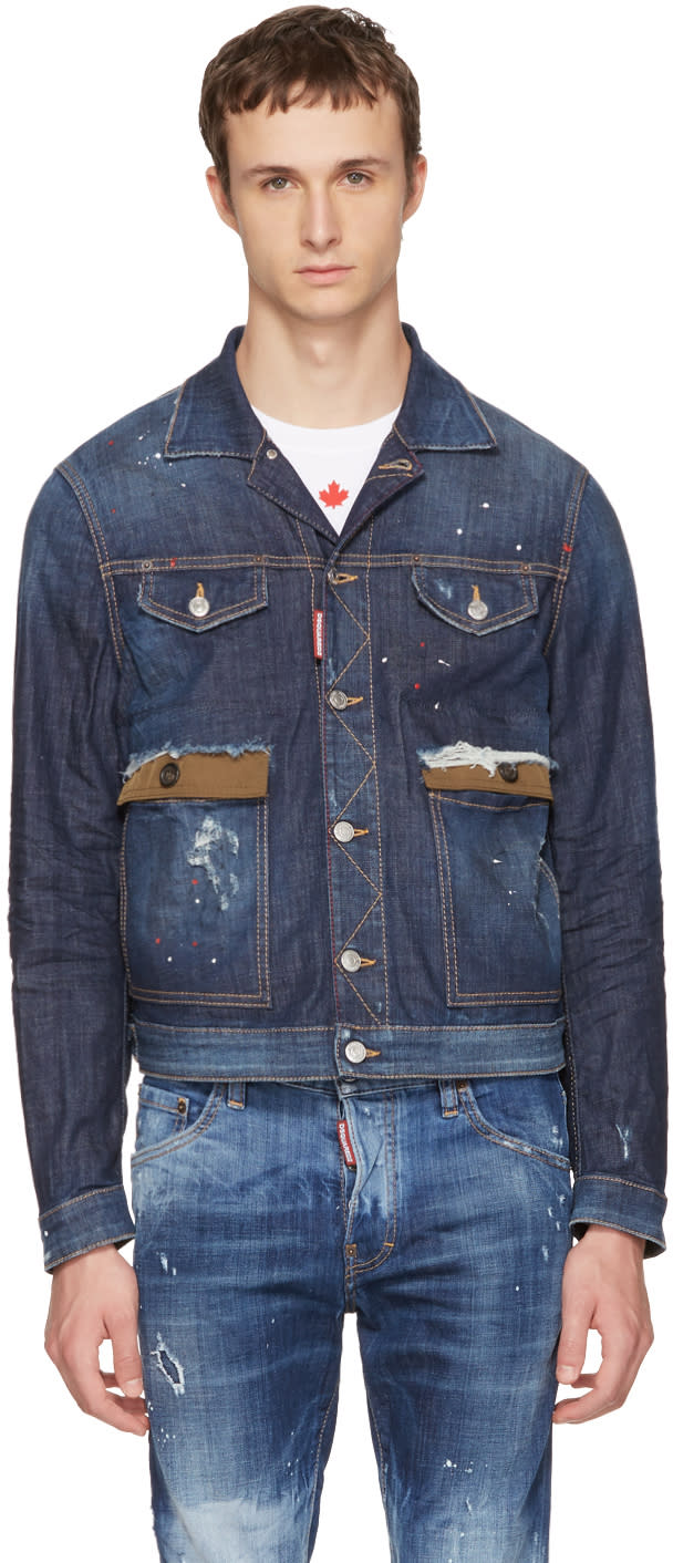 5854859be25 Dsquared2 Blue Denim Red Spots Jacket