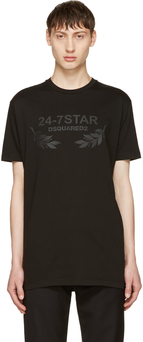 Image of Dsquared2 Black 24-7 Star Logo T-shirt