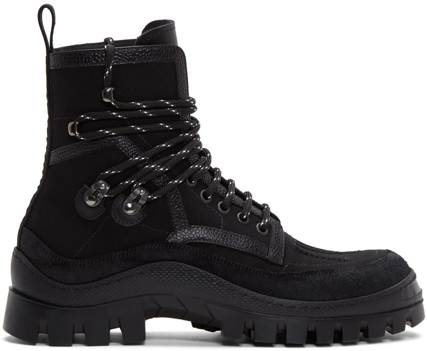 Image of Dsquared2 Black Canvas Hiker Boots