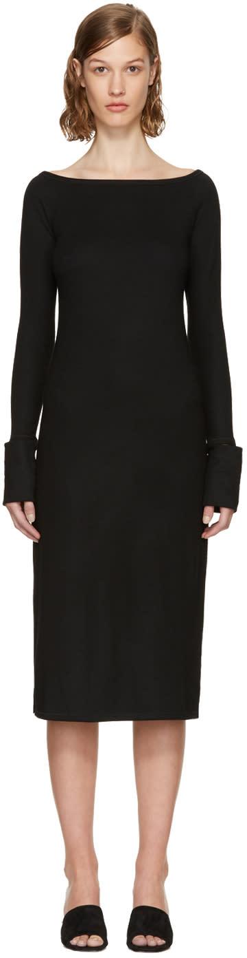 Image of Helmut Lang Black Boat Neck Dress