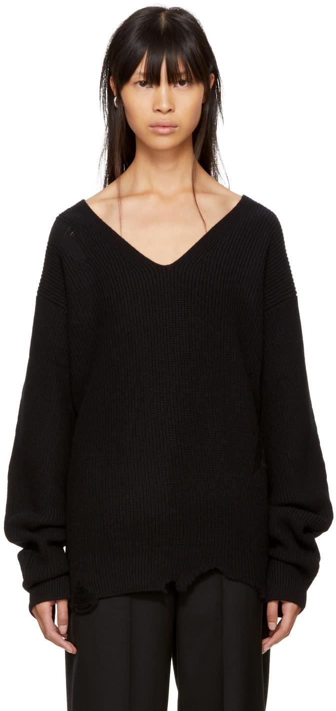 Image of Helmut Lang Black Distressed V-neck Sweater