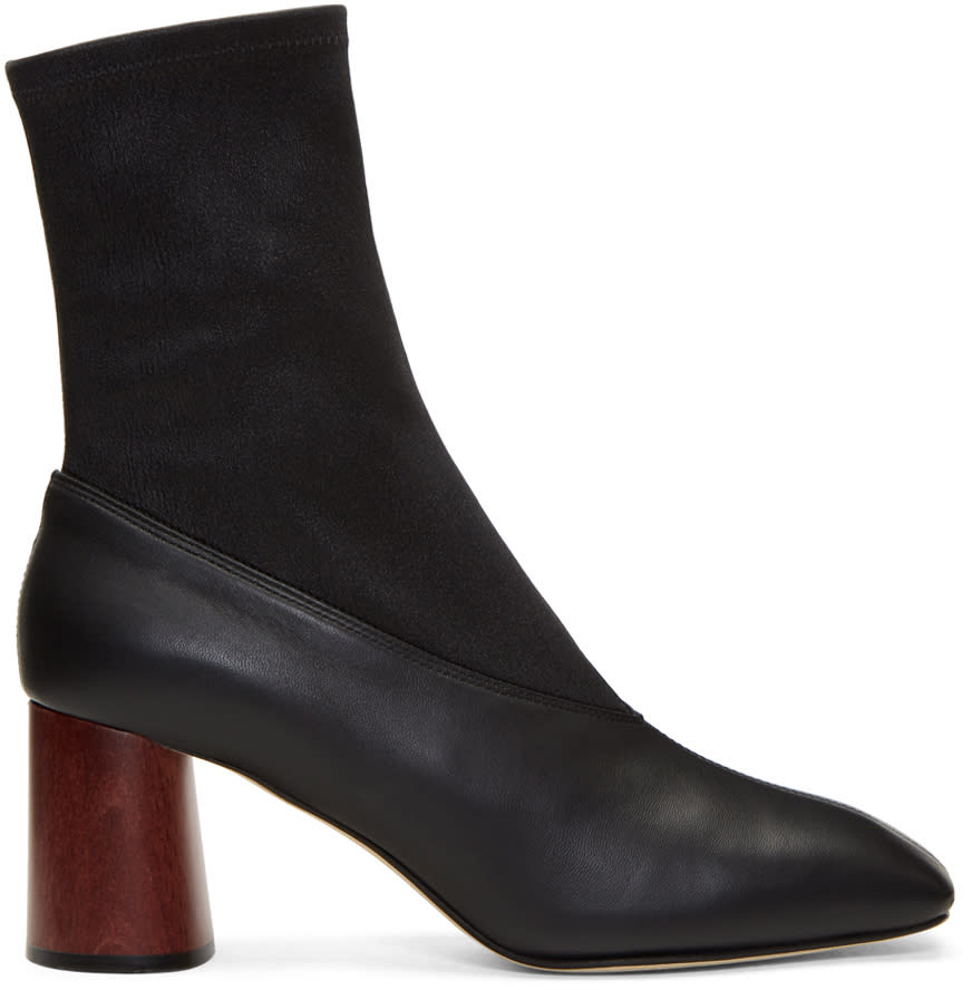 Helmut Lang Black Leather Sock Boots
