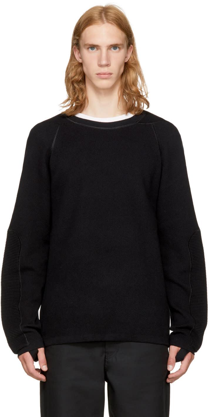 Image of Helmut Lang Black Combo Crewneck Sweater