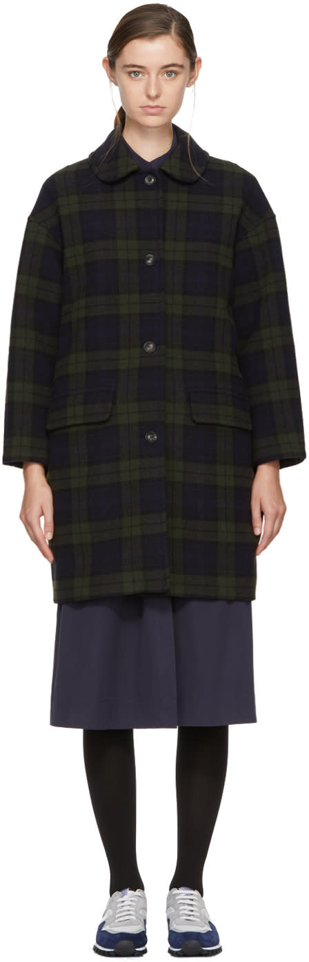 Image of Ymc Green and Black Tartan Christine Coat