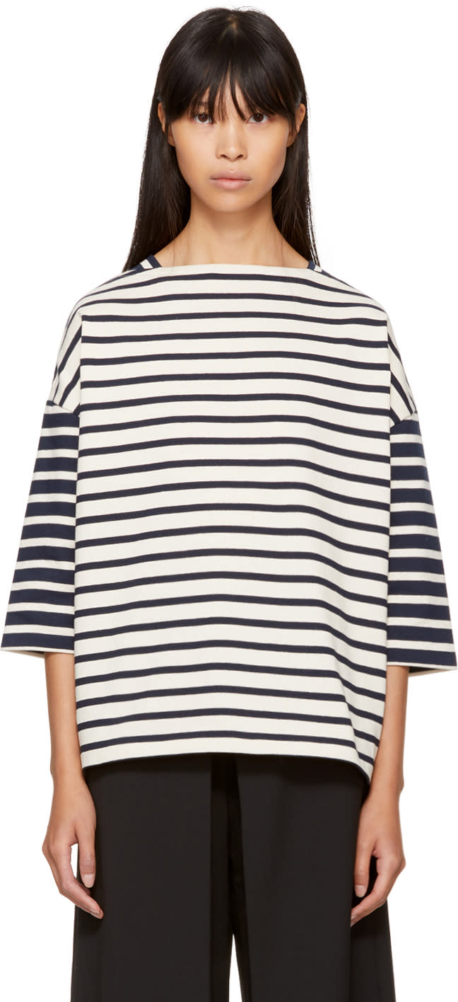 Image of Ymc Ecru and Navy Striped Sweatshirt