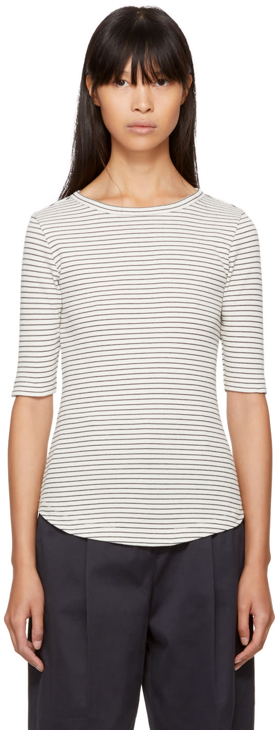 Image of Ymc Ecru and Navy Striped Charlotte T-shirt