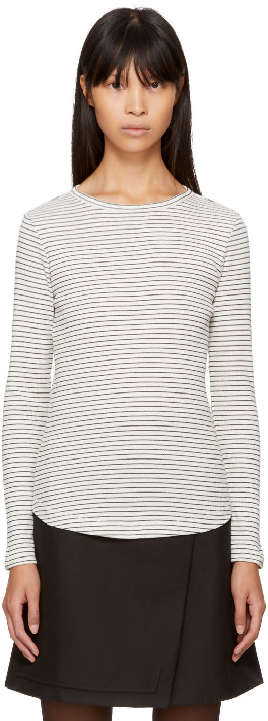Image of Ymc Ecru and Navy Long Sleeve Striped Charlotte T-shirt