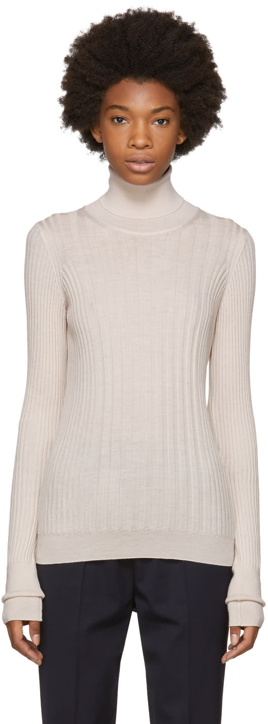 Image of Maison Margiela Beige Ribbed Turtleneck