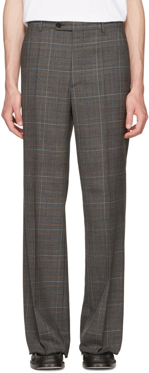 Maison Margiela Grey Plaid Full Leg Trousers