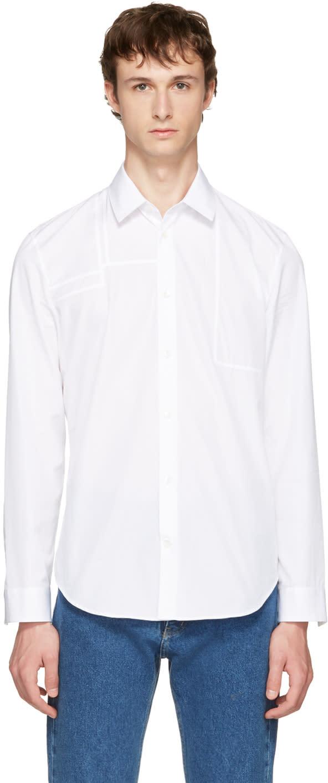 Maison Margiela White Panelled Poplin Shirt