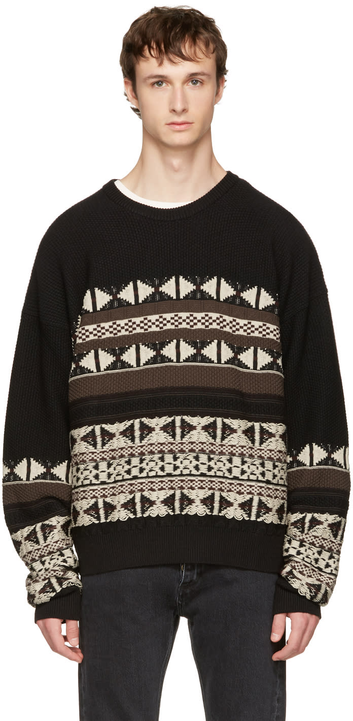 Maison Margiela Black Fair Isle Sweater