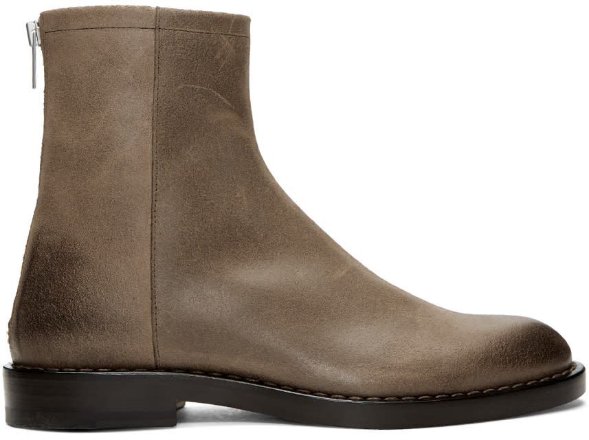Maison Margiela Brown Leather Zip Boots