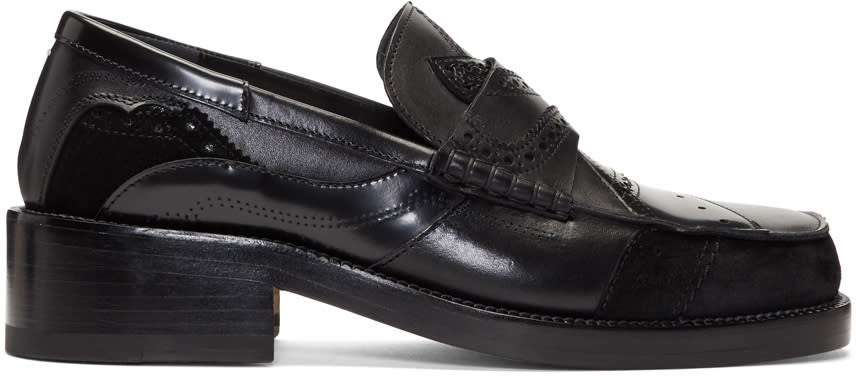 Maison Margiela Black Patchwork Loafers