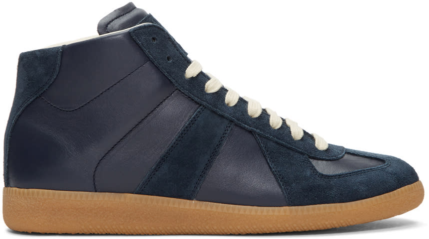 Maison Margiela Navy Replica Mid-top Sneakers