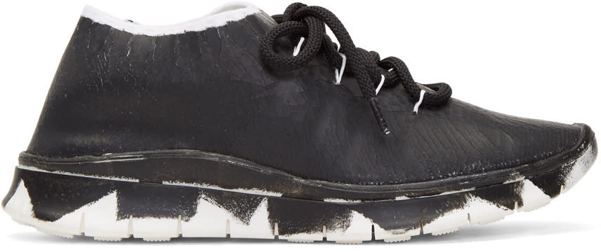Maison Margiela Black and Silver Painted Runner Sneakers