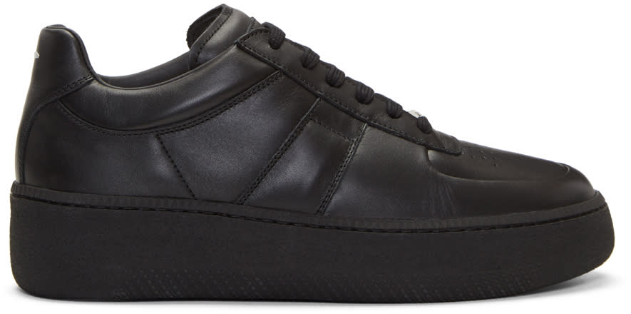 Maison Margiela Black Leather Platform Sneakers