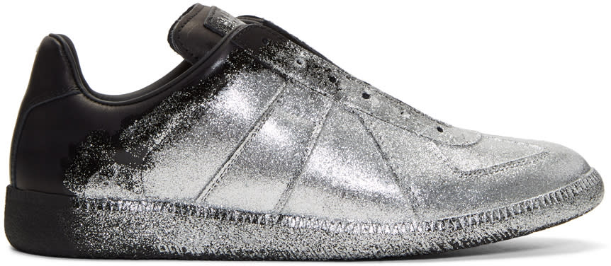 Maison Margiela Black and Silver Glitter Application Replica Sneakers