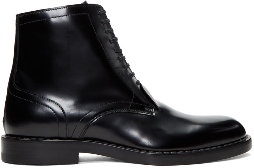 Maison Margiela Black Leather Lace-up Boots