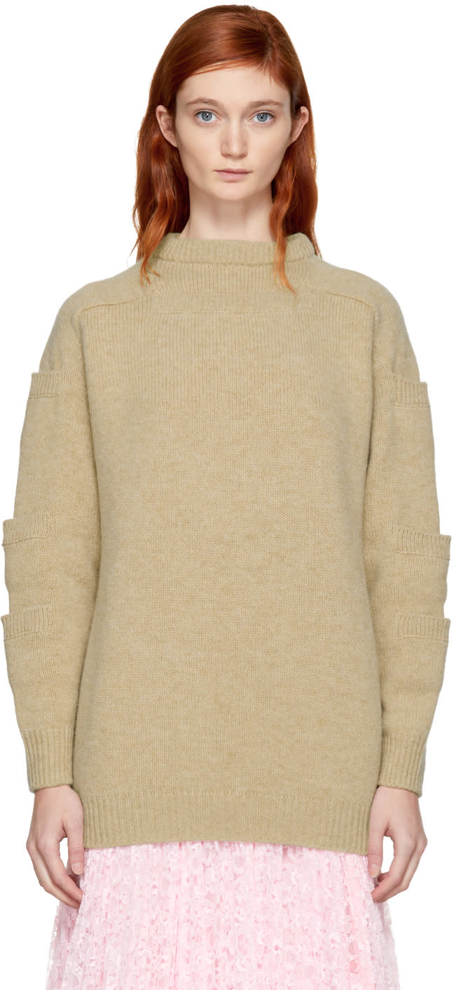 Image of Christopher Kane Beige Stacked Pocket Sweater