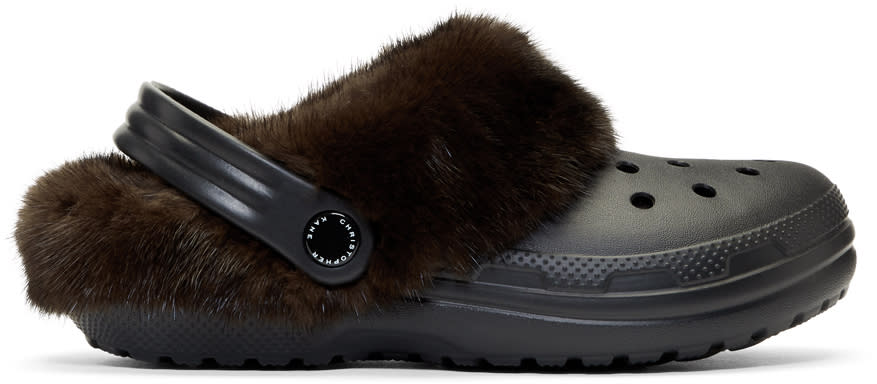 Image of Christopher Kane Black and Brown Crocs Edition Fur-trimmed Clogs