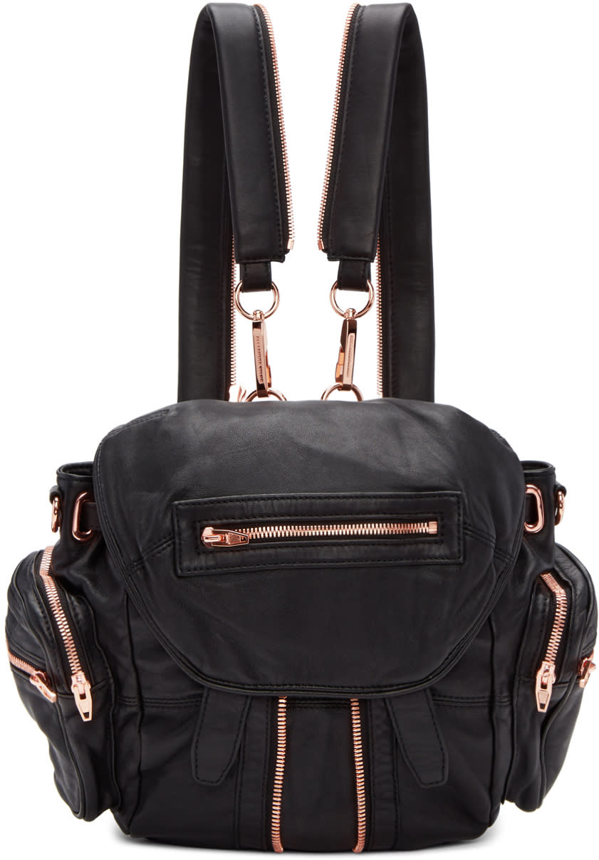 Image of Alexander Wang Black and Rose Gold Mini Marti Backpack