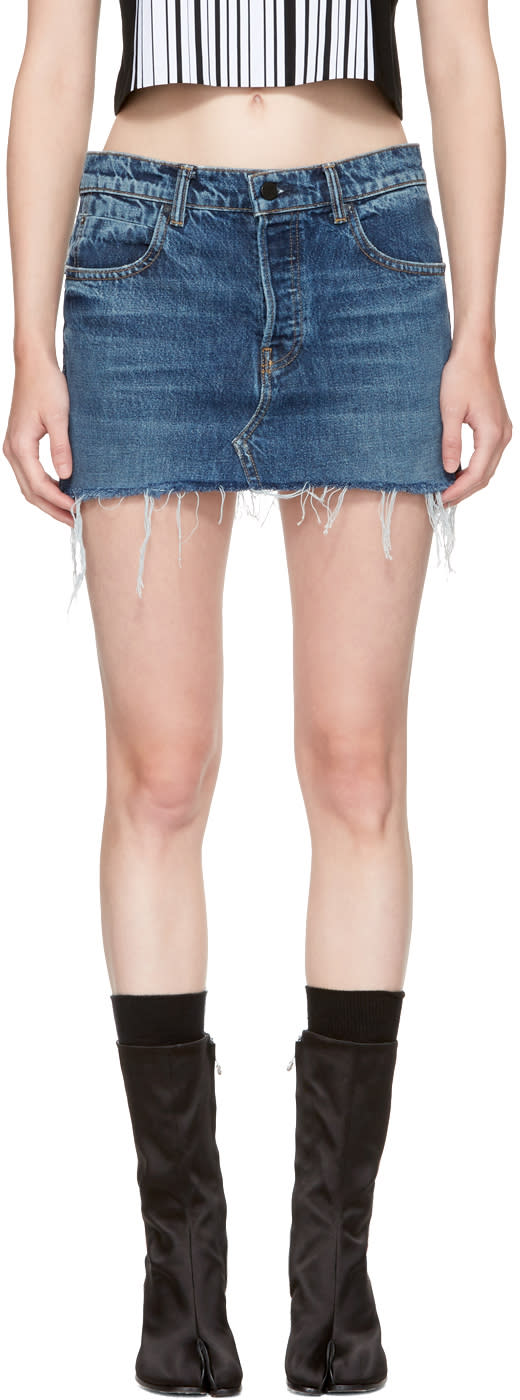 Alexander Wang Indigo Denim Cut-off Miniskirt