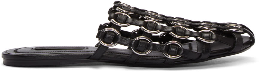 Image of Alexander Wang Black Amelia Ring Cage Slippers