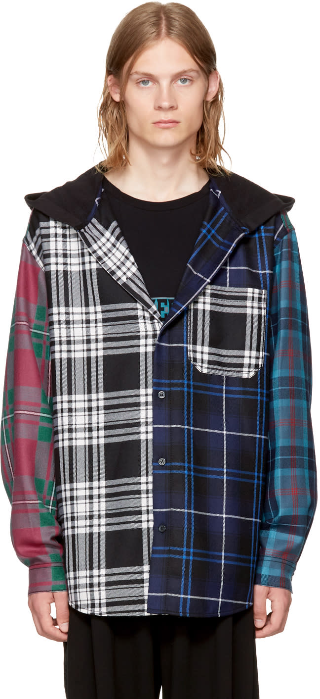 Alexander Wang Multicolor Patchwork Hooded Overshirt