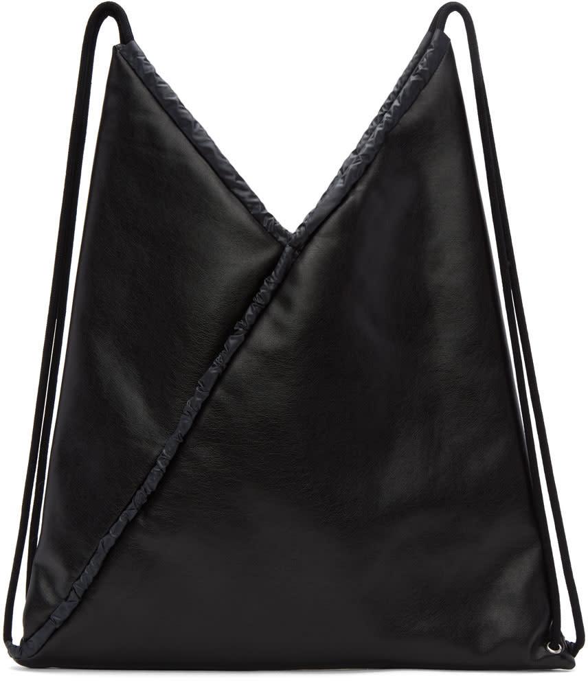 Mm6 Maison Margiela Black Faux-leather Backpack