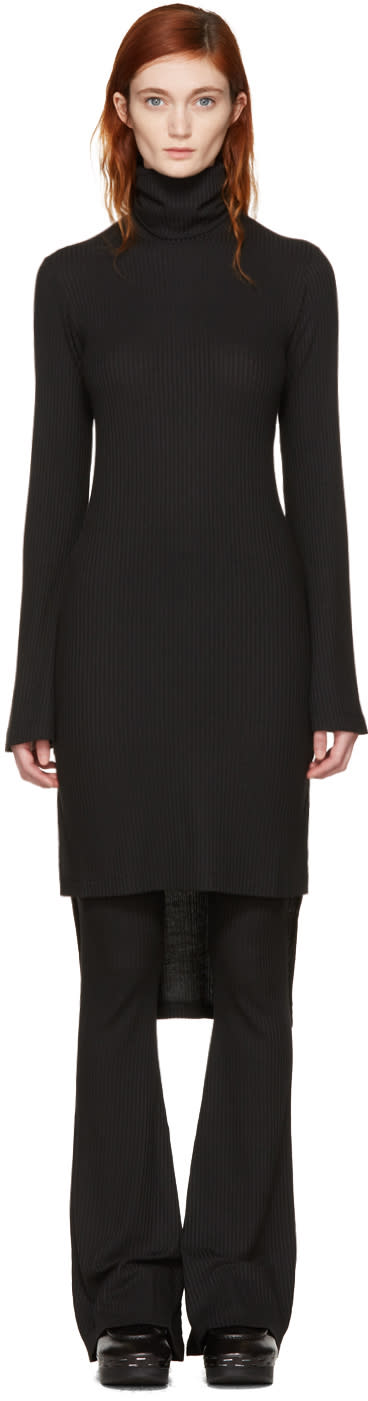 Image of Mm6 Maison Margiela Black Asymmetric Turtleneck Dress