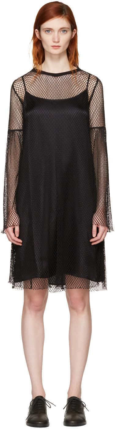 Mm6 Maison Margiela Black Mesh Dress