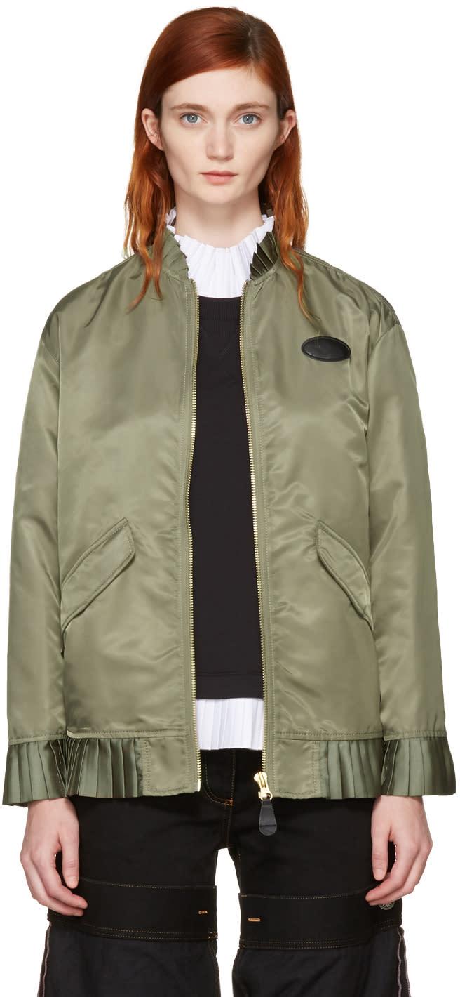 Mm6 Maison Margiela Green Ruffle Bomber Jacket