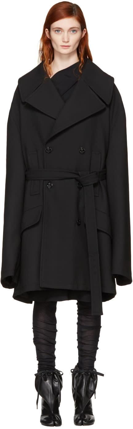 Mm6 Maison Margiela Black Oversized Wool Coat