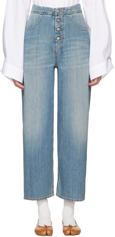Mm6 Maison Margiela Blue Carryover Wide-leg Crop Jeans