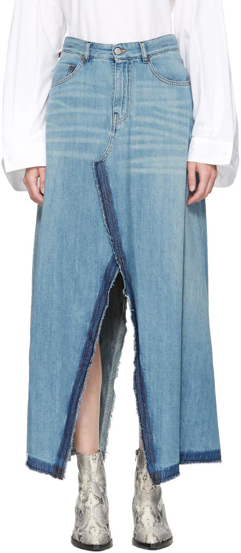 Mm6 Maison Margiela Indigo Denim Pant-cut Split Seam Skirt