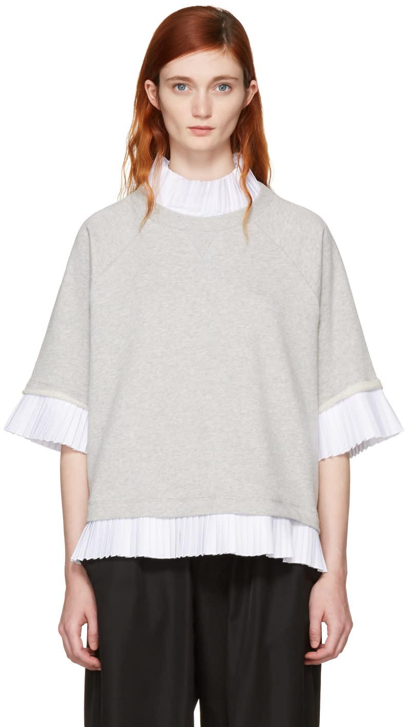 Mm6 Maison Margiela Grey Mock Layered Sweatshirt