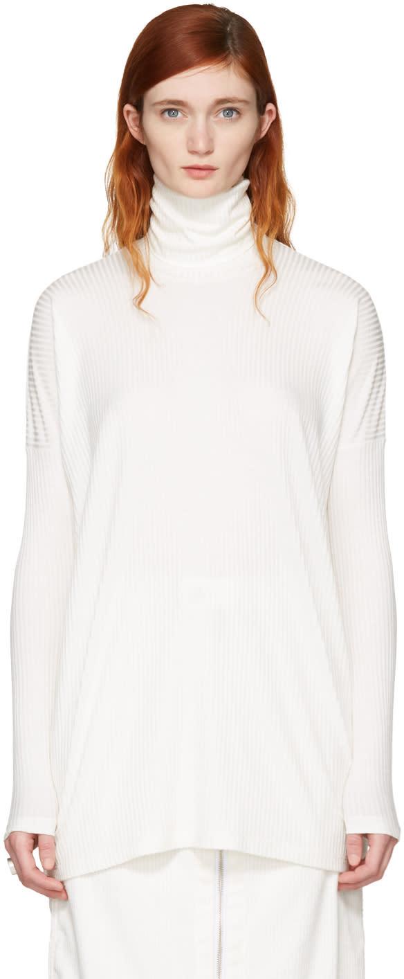 Mm6 Maison Margiela Off-white Ribbed Turtleneck