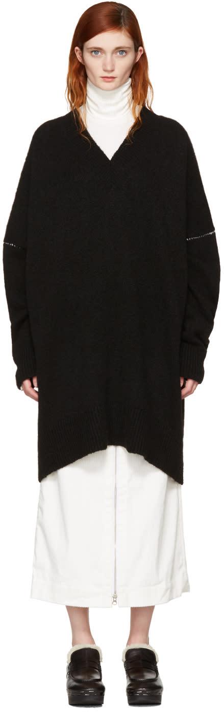 Mm6 Maison Margiela Black Oversized V-neck Sweater