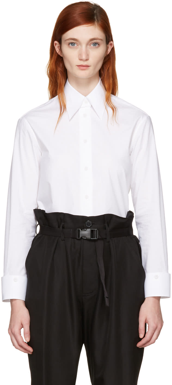 Mm6 Maison Margiela White Convertible Double Collar Shirt