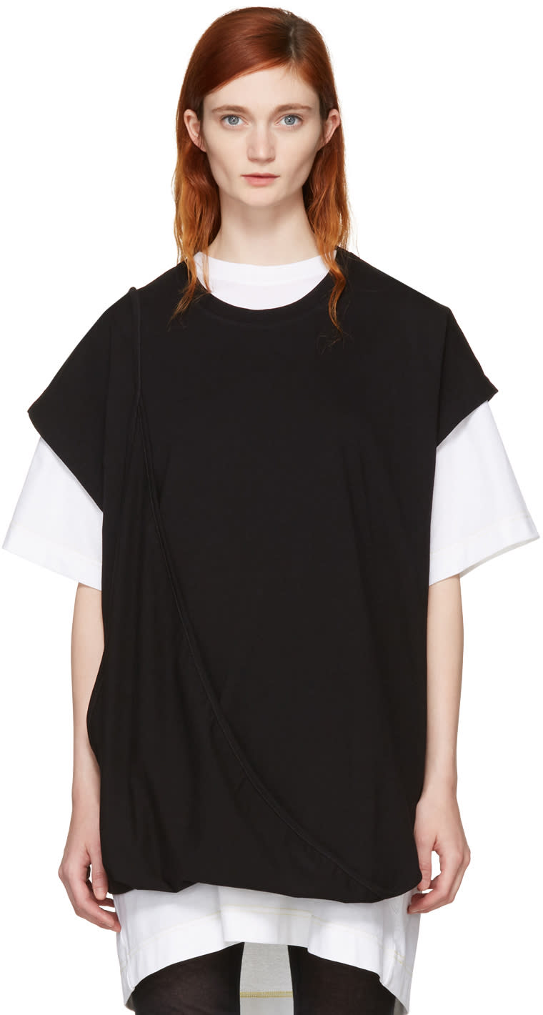 Image of Mm6 Maison Margiela Black Asymmetric T-shirt Dress