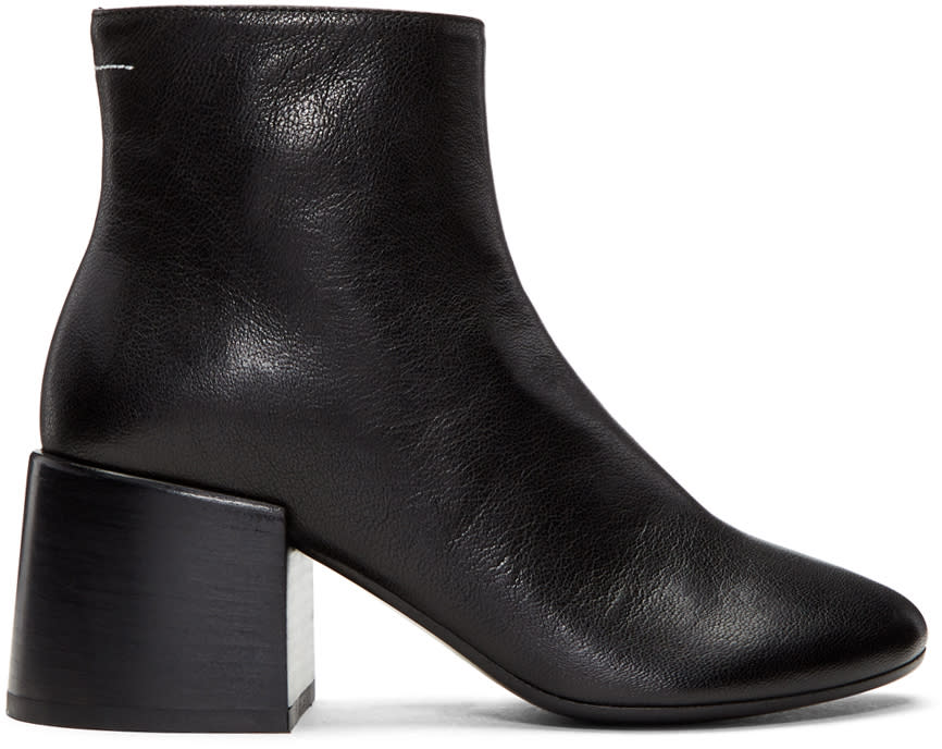 Mm6 Maison Margiela Black Leather Cube Heel Boots