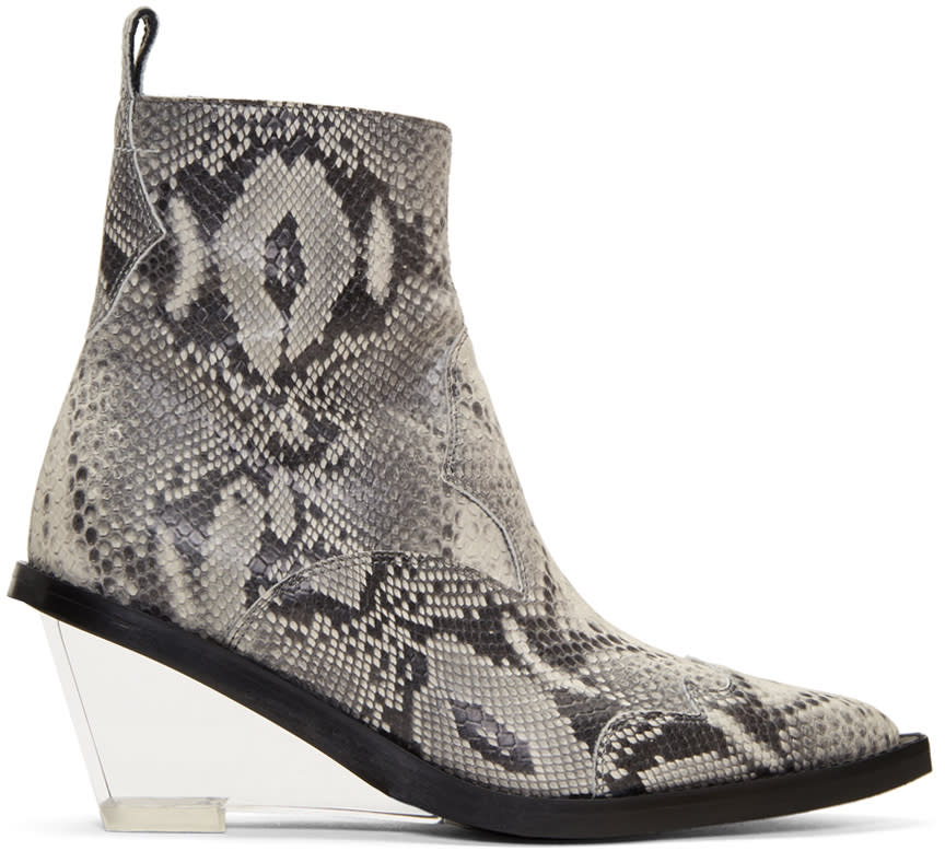 Mm6 Maison Margiela Grey Faux-python Wedge Boots