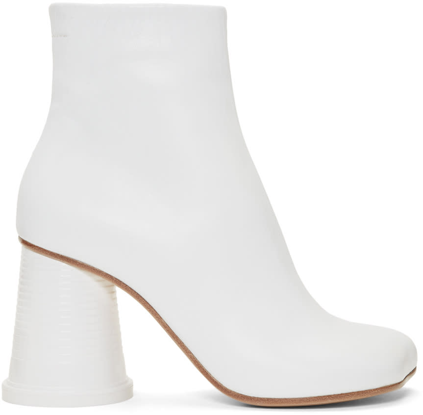 Mm6 Maison Margiela White Cup Heel Ankle Boots